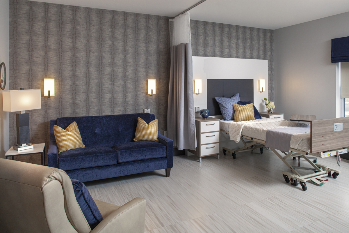 SNF Resident room with blue couch